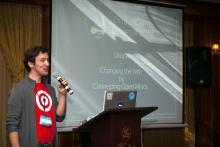 dasjo presenting at DrupalCamp Donetsk 2014